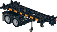 Container trailer for 20ft containers with legs activated by reversing