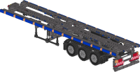 Container trailer for 40ft containers with bumper activated legs